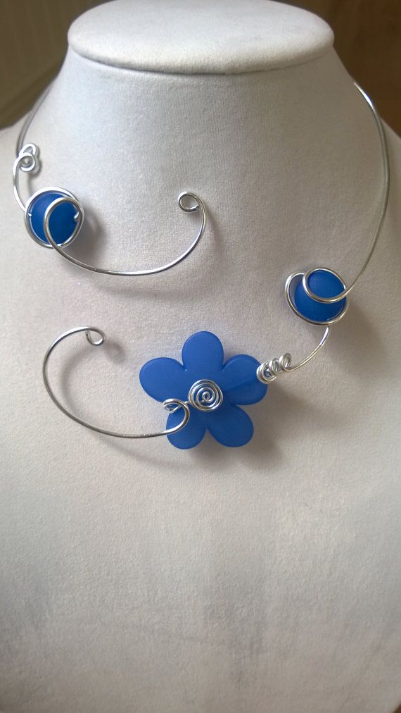 Funky necklace Blue necklace Flower necklace Open necklace