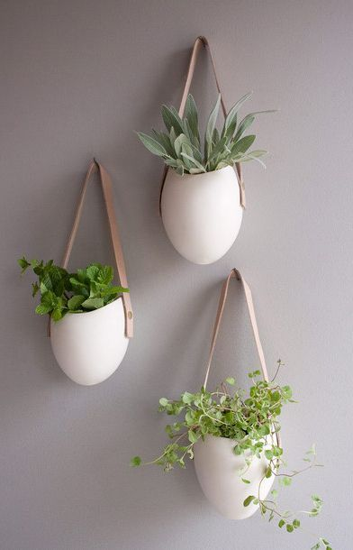 Porcelain and Leather Planter