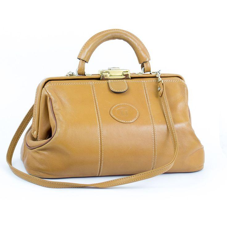 Sac TEXIER vintage (1970) neuf. Cuir beige foncé. Intérieur velours brun foncé. Sublime sac vintage !