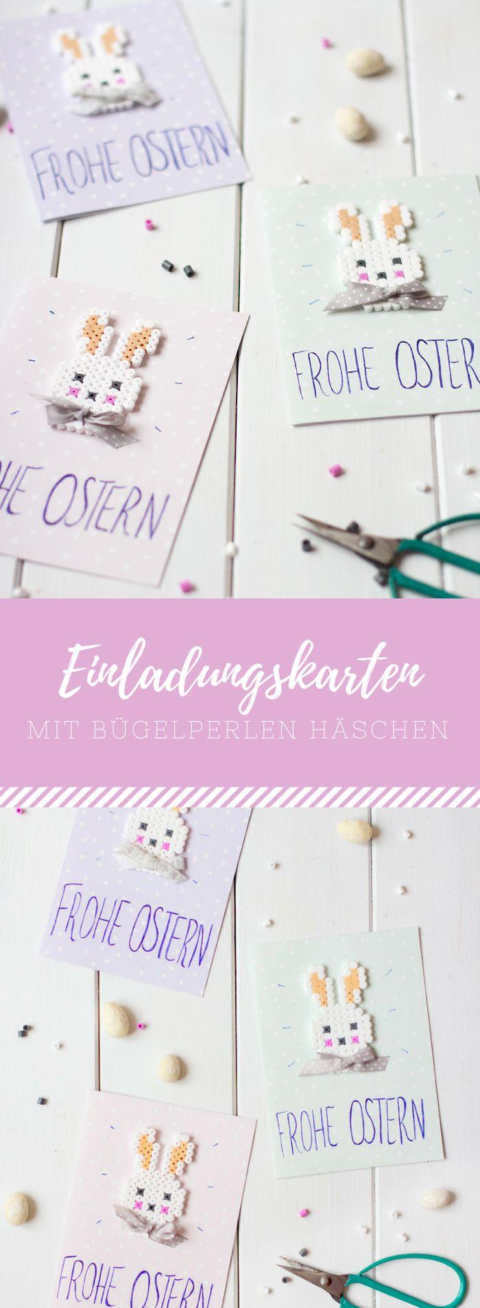 Einladungskarten, Grußkarten mit Bügelperlen oder Hama-Perlen Häschen/Osterhasen. Perfekte Karten DIY für Ostern #schneiderpen #werbung