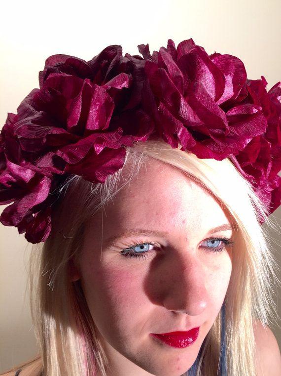 Rose headband-bridal headband Wine rose hair by doramarra on Etsy