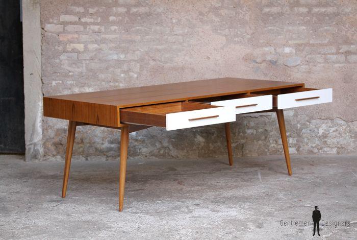Grand bureau ministre bois teck meuble style vintage