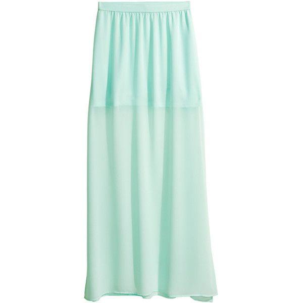 H&M Maxi skirt ($12) ❤ liked on Polyvore featuring skirts, bottoms, mint, long chiffon skirt, green maxi skirt, long green skirt, high-slit maxi skirt and short skirts