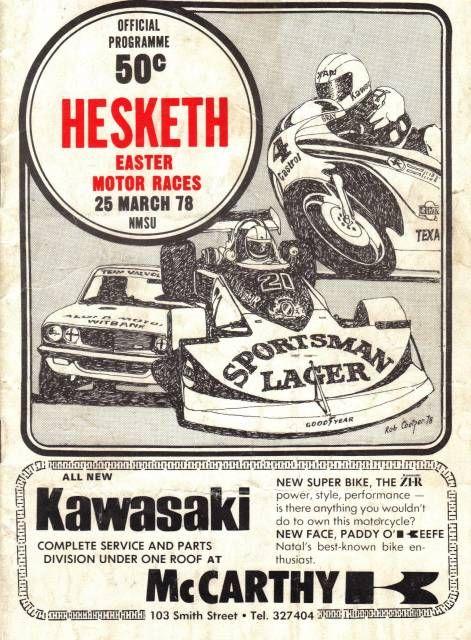 Roy Hesketh Racing Programmes 25 March 1978 | Pietermarizburg