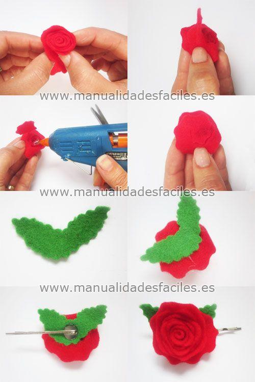 TODOS LOS MATERIALES UTILIZADOS EN ESTA MANUALIDAD LOS PUEDES ADQUIRIR EN NUESTRA TIENDA ONLINE            Necesitamos:      -fieltro de 2mm en color rojo y verde.      -bases de anillo colador, bases de horquilla y broches      -tijeras de corte ...