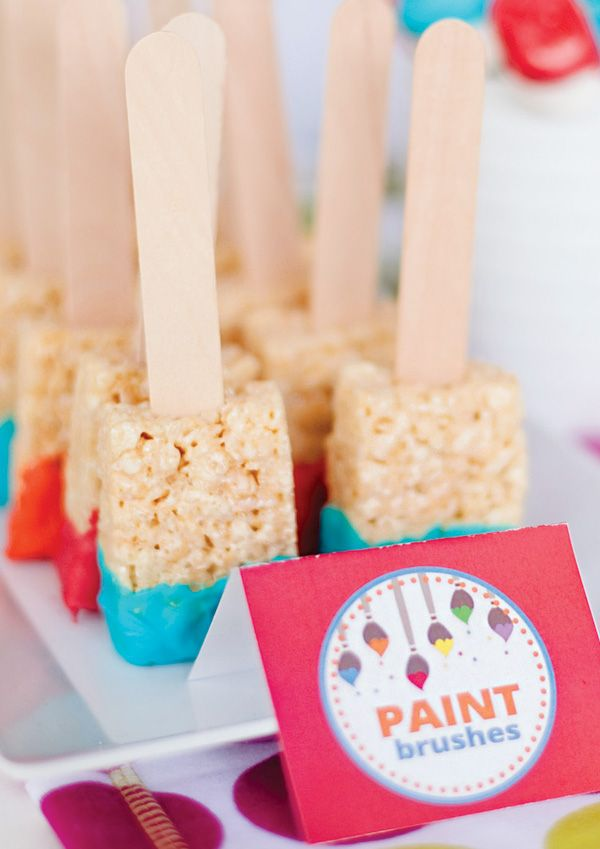 "Chocolate dipped rice krispie treat ""paintbrushes"""