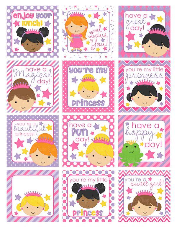 Printables & Templates - Princess Lunch Box Notes Printable - MYGRAFICO - DIGITAL ARTS AND CRAFTS STORE