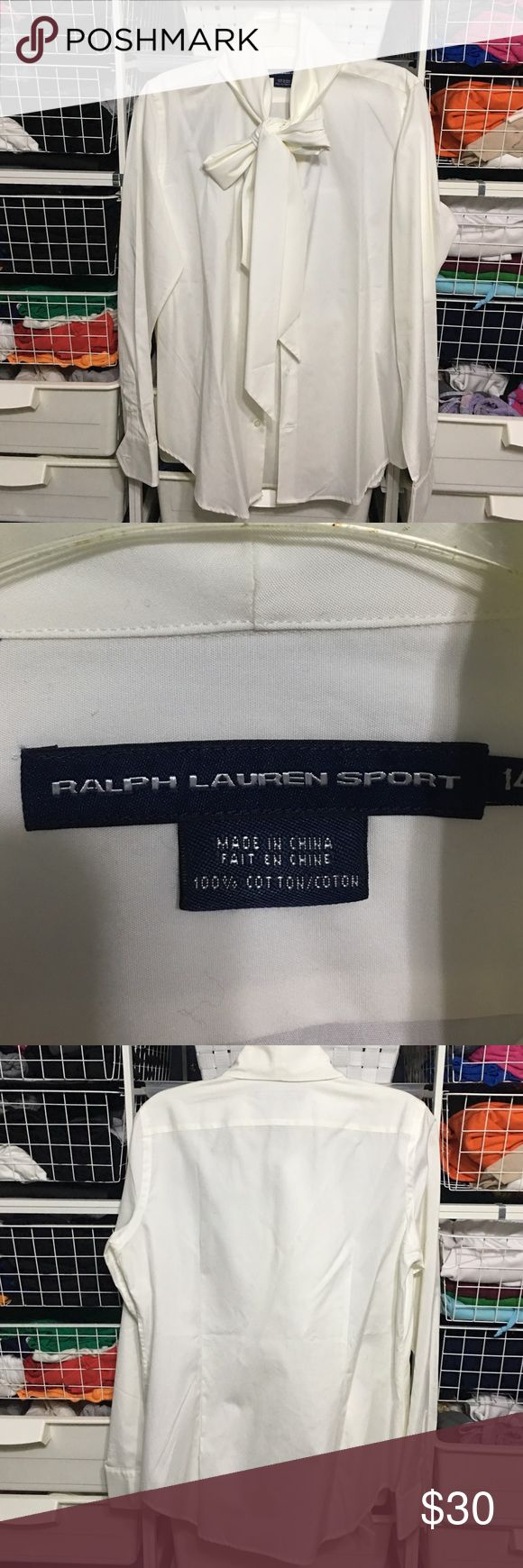 Ralph Lauren Sport White Blouse White blouse with long tie that can be worn tied into a beautiful bow or left untied as a long scarf look. Ralph Lauren Tops Button Down Shirts
