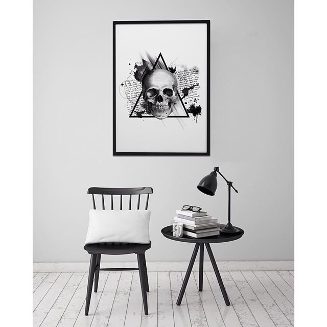 Black➕white➕skull #poster #interior #black #white #simple #home #skull #wall #art