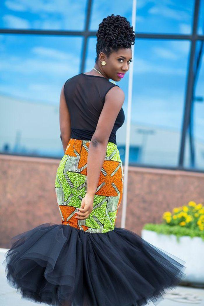 ec0b2f6dbd3 style habillé avec robe africaine en tulle noir et partie moulante en pagne  africain