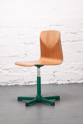 Set of six metal adjustable swivel chairs with exquisite bent plywood seats. c.1960's. Would make beautiful dining or boardroom suite.  If you like this check out our shop http://industrialthings.com/