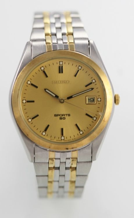 Seiko Sports Gold Men's Stainless Silver Gold Date 50m Quartz Battery Watch