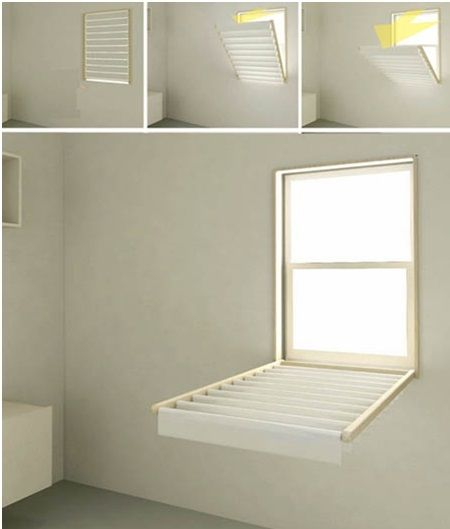 Flip down blinds from blindry makes drying laundry easy without taking up additional space in - Laundry drying racks for small spaces property ...