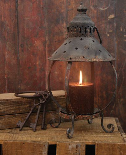 primitive decor rustic table lantern antique rust