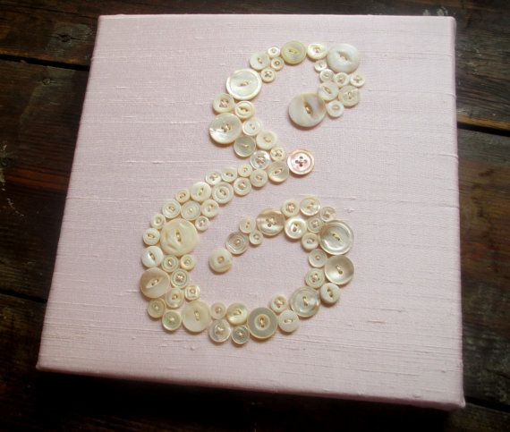Baby Girl Nursery Wall Decor, Kids Wall Art, Mother of Pearl Button Letter on Light Pink Silk, Ready-to-Frame or Wall Canvas