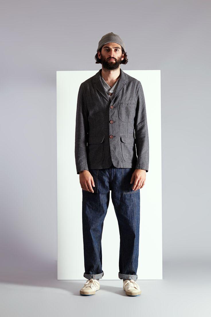 Barra Jacket In Pattern Weave Cotton Mix - Run Vest In Japanese Lightweight Slub - Fatigue Pant In Indigo Linen Denim -