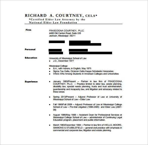 cv template free for lawyers