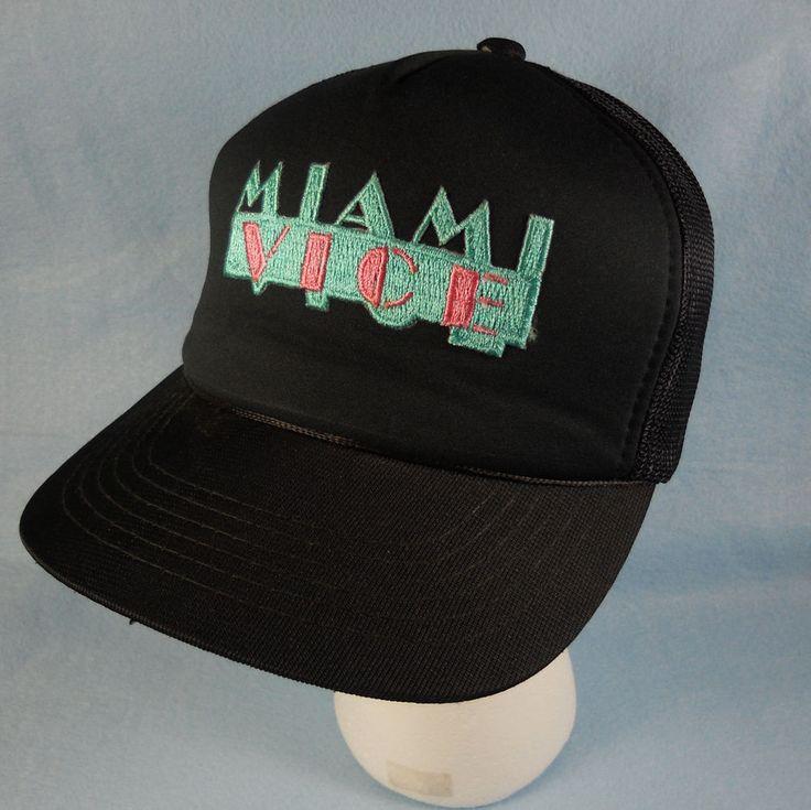Vintage 1980's Miami Vice Snapback Hat Mesh Trucker Cap TV Show Memorabilia #MiamiVice