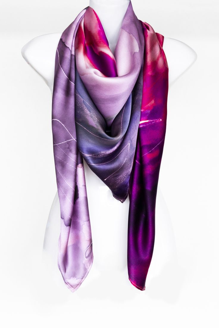 Cashmere Silk Scarf - violet diagonal lines by VIDA VIDA dKDTfo3