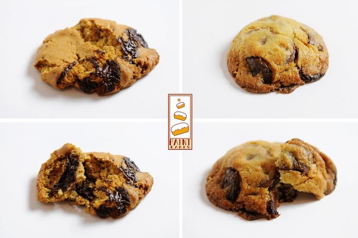 Cookies Beurre de cacahuètes Noix et Chocolat (croustillant)  Cookies Éclats de Chocolat Noir (moelleux)    http://www.facebook.com/Paintcakes