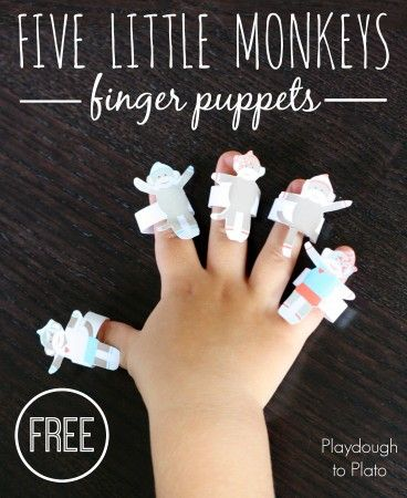 Five Little Monkeys Finger Puppets with Free Printable from Playdough to Plato