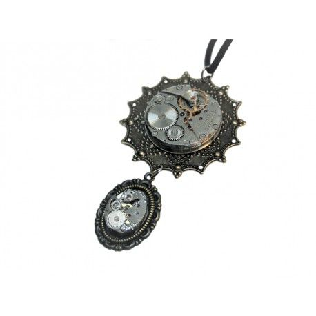 Steampunk Star Necklace Steampunk necklace made of two watch movements. One attached to star-alike base and second one attached to drop-alike base.