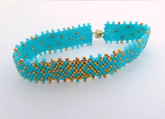 SALE Turquoise and Gold Beadwoven Bracelet by ClassyJewelryByAlena, $23.00