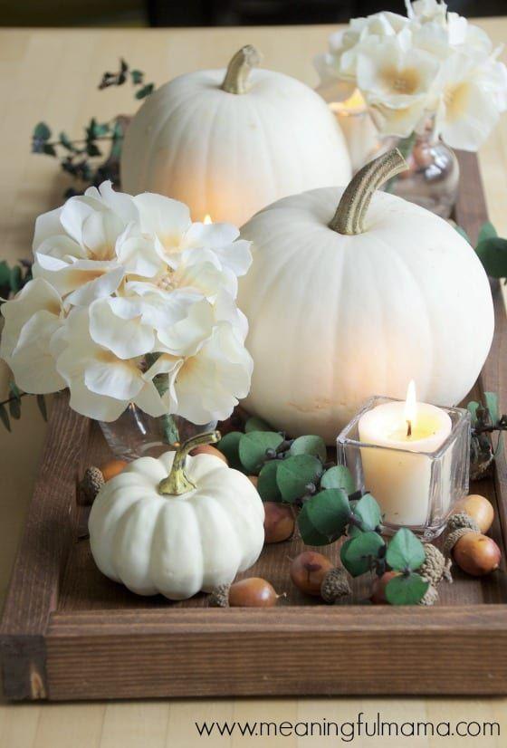 contemporary fall centerpiece idea with white pumpkins wedding rh pinterest com