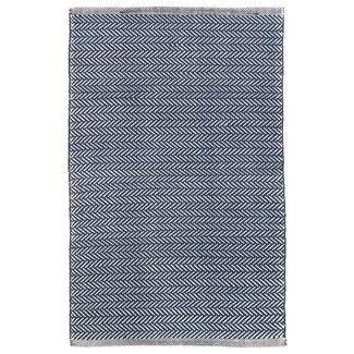 Dash and Albert Rugs Herringbone Blue/Ivory Indoor/Outdoor Area Rug