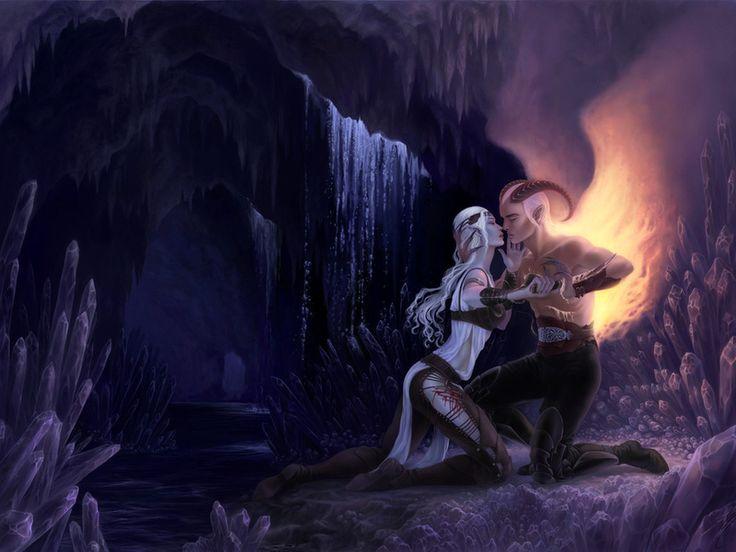 демон, Парень, девушка, седые волосы, длинные волосы