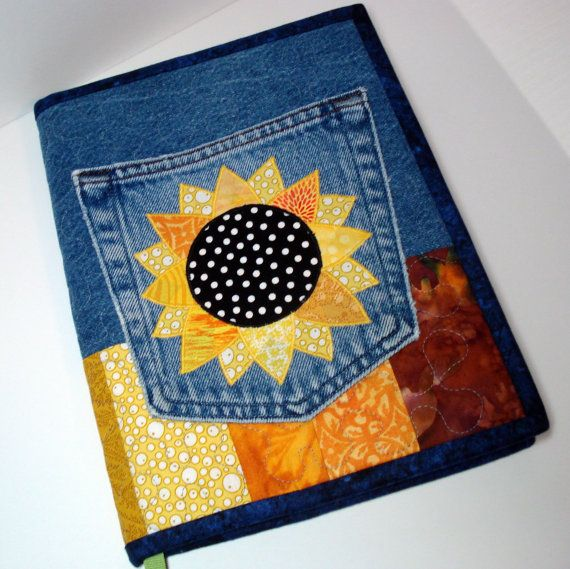 Sunny Sunflower Recycled Denim Quilted Journal by BackPocketDesign, $35.00