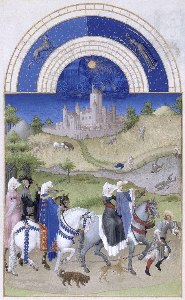 """""""Agosto"""".  'Das Riquíssimas Horas' do Duque de Berry.  (c. 1410).            (by Irmãos Limbourg)."""