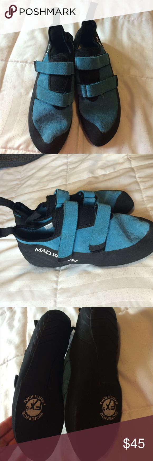 Like new rock climbing shoes Floral blue print with velcro straps mad rock Shoes Athletic Shoes