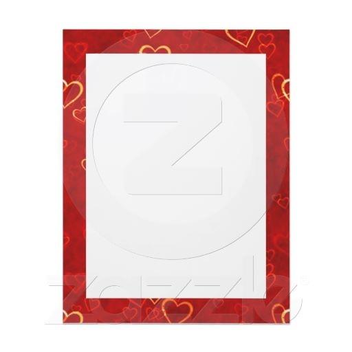red hearts pattern letterhead