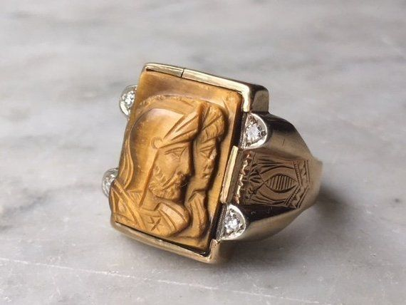 Vintage 10k Gold Carved Double Intaglio Roman Soldier Etsy Size 10 Rings Glass Bangles 10k Gold