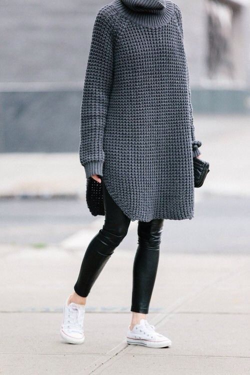 gray oversized turtleneck sweater + black leather skinny pants + white converse shoes