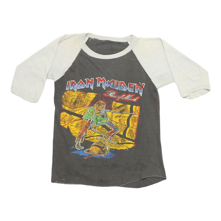 This is an original 1983 Iron Maiden Piece Of Mind Number Of The Beast Live In Concert Shirt. Front and back graphics. This shirt is in worn condition, discolored sleeves, small marks and holes on front and back. | eBay!