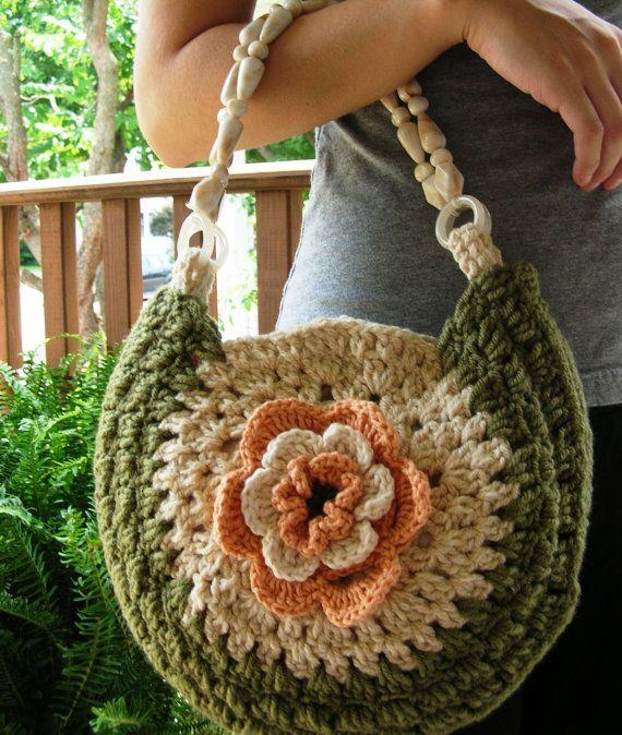Crochet purse, crochet bag, with beaded handles, flower aplique purse, cotton lined purse, ready to ship,