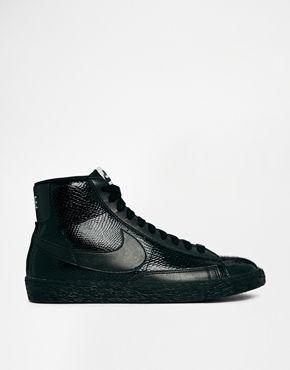 Nike+Blazer+Mid+Premium+Leather+Black+Trainers