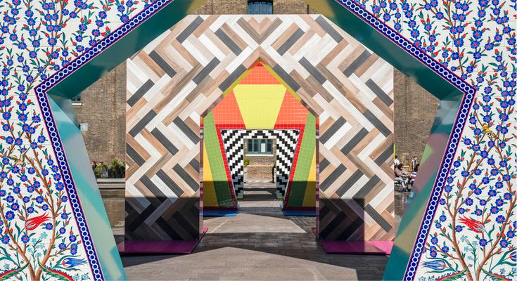 © Adam Nathaniel Furman. Four 4*4 metre ceramic gateways in Granary Square, King's Cross, as the entrance feature for Design Junction, London Design Festival 2017. A collaboration with Turkish Ceramics. via Goodmoods
