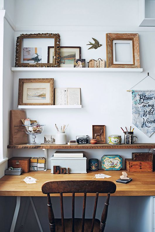wood desk and decorative shelving for a creative workspace / sfgirlbybay
