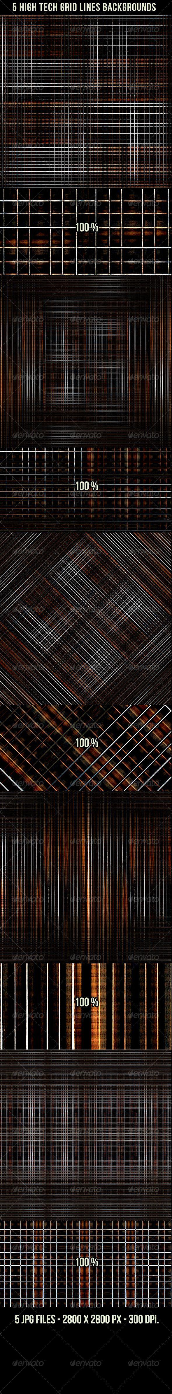 5 high tech grid lines backgrounds technology high tech