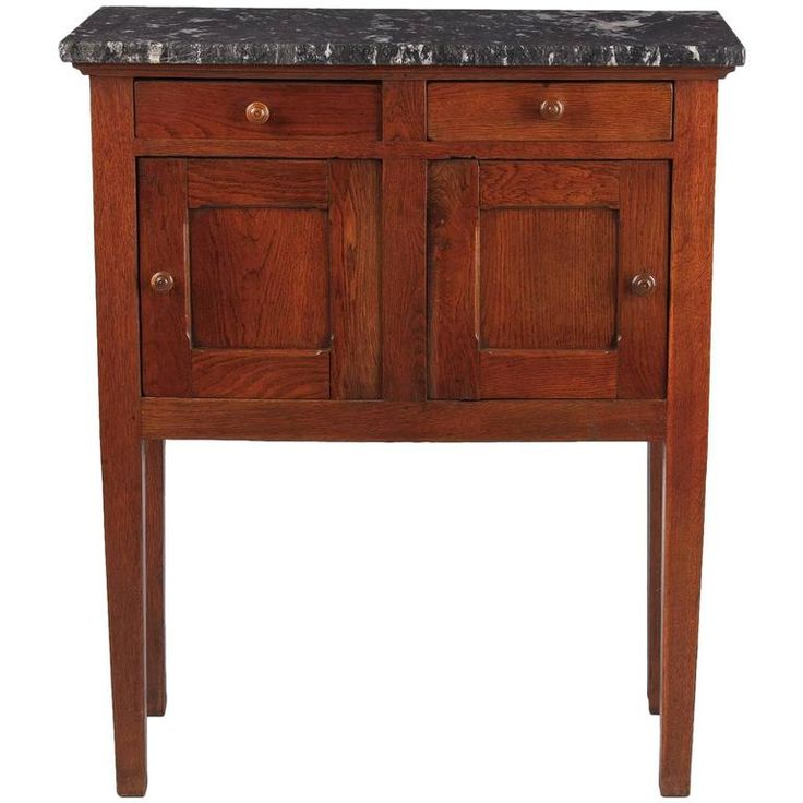 Country French Oak and Marble-Top Boarding School Cabinet, Early 1900s