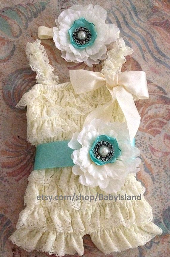If i ever have a little girl :) Vintage ivory lace posh petti ruffle romper headband by BabyIsland, $25.99