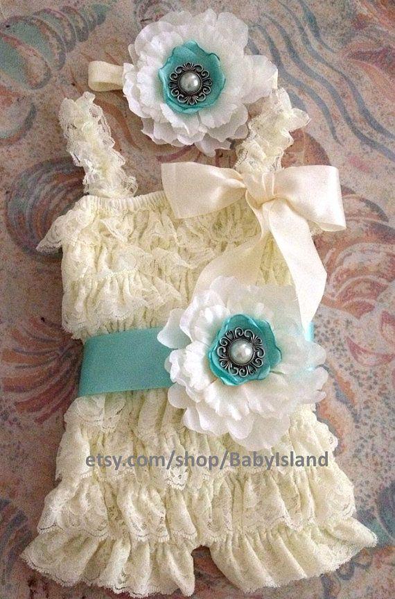 Vintage ivory lace posh petti ruffle romper headband by BabyIsland, $25.99