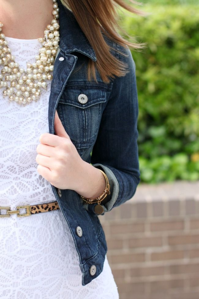 TheRightShoes blog: a little country in lace + denim + pearls (I have that necklace!!!!)