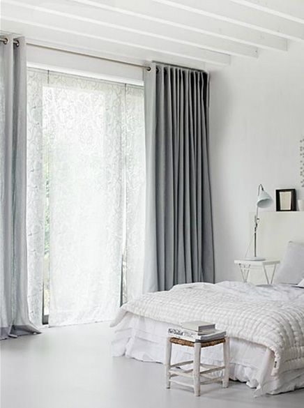 curtains!: Grey Bedrooms, Beds Rooms, Grey Curtains, Bedrooms Design, White Rooms, White Bedrooms, Window Treatments, White Bathroom, Bedrooms Curtains