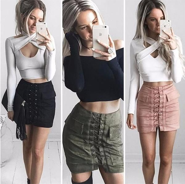 6775bf064d8 Cute soft faux suede skirt! Two pockets, invisible zipper closure on back  Gender: WomenDecoration: Lace up front, Real PocketsMaterial: Faux  SuedeLength: ...
