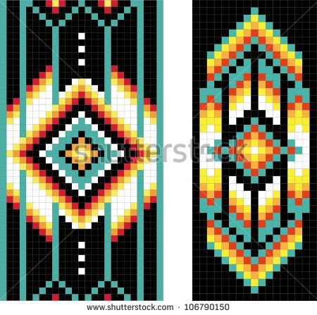 Southwestern Borders Clip Art | Traditional (native) American Indian pattern, vector - stock vector