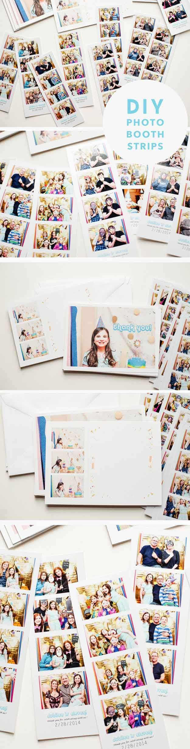 Easy DIY Photo Booth Ideas | DIY Photo Booth Strips by DIY Ready at http://diyready.com/20-diy-photo-booth-ideas/